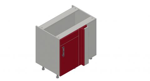 FOUCHARD - Angle retour tablettes avec faux tiroir